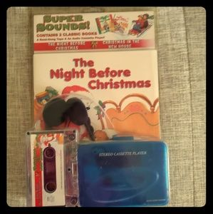 2 Christmas books and cassette and player